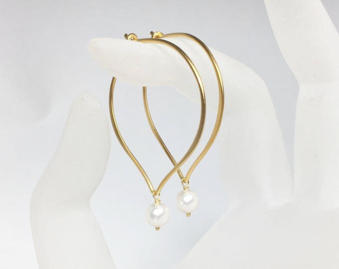 Featured listing image: White Pearl Hoop Earrings, Vermeil Medium or Large Hoop Ear Wires, Gifts for Her, Bridal Earrings