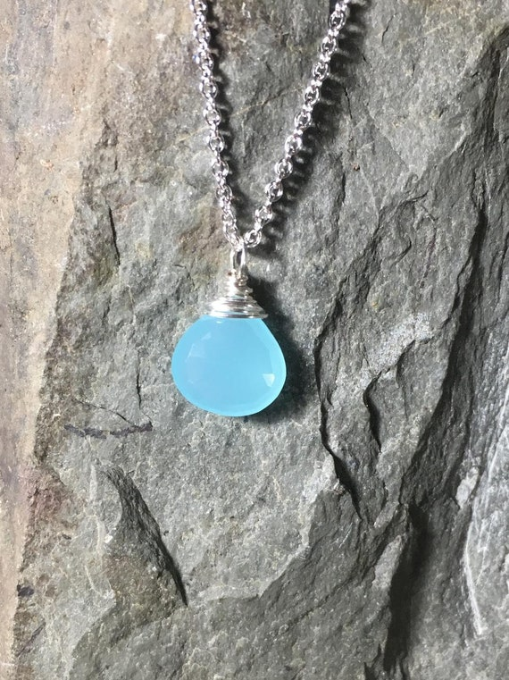 """Aqua Chalcedony Briolette Necklace, Sterling Silver Gemstone Pendant, Length 18"""", Gifts for Her"""