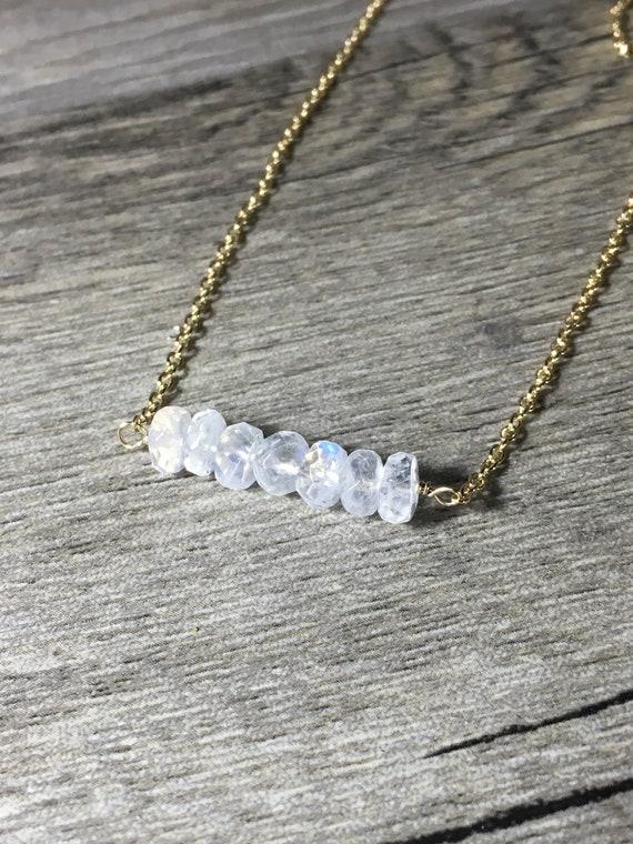 "Moonstone Bar Necklace, Gold Fill, Gemstone Bar Pendant Necklace, Length 18.5"", Moonstone Jewelry"