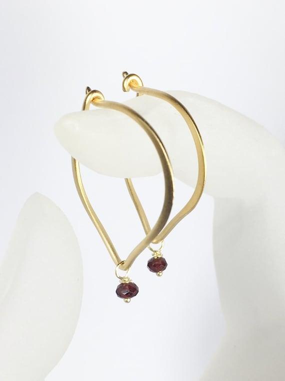 Garnet Hoop Earrings, Lotus Petal Ear Wires, Gold Vermeil, January Birthstone, Gifts for Her, Garnet Gemstone Earrings