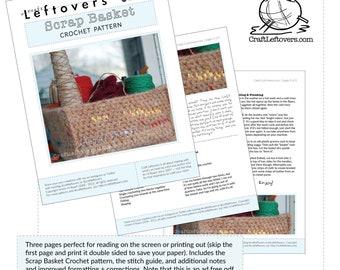 Crochet Felted Scrap Basket / Project Organizer : Pattern PDF