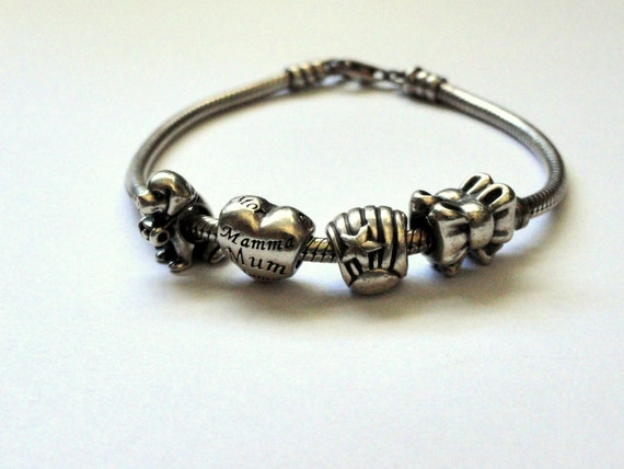 9c52d5a06 Pandora 4 Charm Bracelet S925 ALE Original Sterling jewelry   Etsy