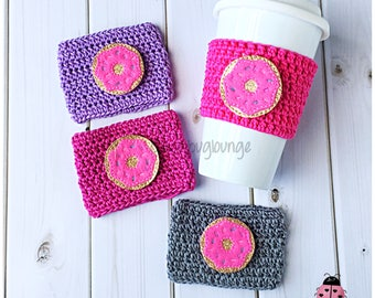 Coffee Cup Cozy. Pink Donut Coffee Cozy. Mother's Day Cozy Gift. Coffee Lover Gift. Gift for her. Gift for kids. Gift under 10.