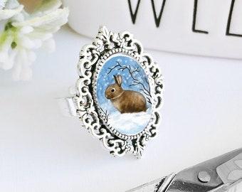 Cameo Ring / Bunny Ring / Brown Bunny Ring / Brown Bunny / Rabbit Ring / Brown Rabbit / Bunny Lover Gift / Bunny Cameo Ring / Snow Bunny