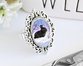 Cameo Ring / Bunny Ring / Black Bunny Ring / Black Bunny / Rabbit Ring / Bunny Lover Gift / Bunny Cameo Ring / Black Rabbit / Snow Bunny