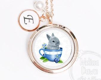 Cute Little Bunny Rabbit Porcelain Cameo Mint Green Locket Pendant Necklace Memorable Wish Keeper Porcelain Anniversary Jewelry Gift 7139