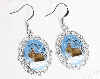 Brown Bunny / Bunny Earrings / Wild Bunny / Bunny Jewelry / Brown Bunny Jewelry / Rabbit Earrings / Brown Rabbit / Snow Bunny / Winter Bunny