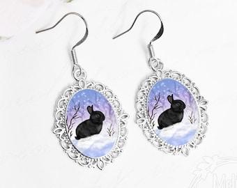 Bunny Earrings / Black Bunny / Bunny Jewelry / Black Bunny Jewelry / Rabbit Earrings / Bunny Lover Gift / Black Rabbit / Snow Bunny / Winter