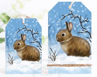 Tier Tray Tag / Bunny Ornament / Brown Bunny Art / Rabbit Shelf Sitter / Winter Bunny Decor /  Snow Bun / Vintage Bunny / Bunny Shelf Sitter