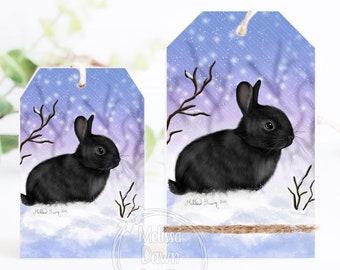 Tier Tray Tag / Bunny Ornament / Black Bunny Art / Rabbit Shelf Sitter / Winter Bunny Decor /  Snow Bun / Vintage Bunny / Bunny Shelf Sitter