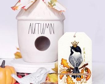 Fall Sign / Fall Home Decor / Fall Tier Tray / Fall Bird Decor / Fall Decor / Shelf Sitter / Tiered Tray Signs / Crowned Bird / Autumn Bird