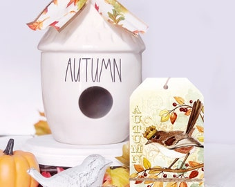 Bird Art / Fall Home Decor / Fall Tier Tray / Fall Bird Decor / Bird in Crown / Shelf Sitter / Tiered Tray Sign / Crowned Bird / Autumn Bird
