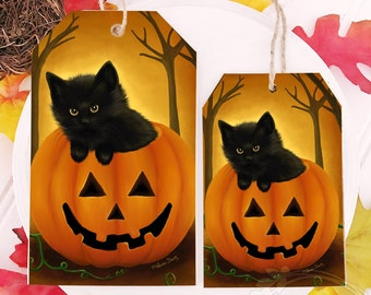 Halloween Cat / Cat in Pumpkin / Halloween Tier Tray / Wooden Tag / Halloween Cat Art / Cat Ornament / Cat Home Decor / Black Cat Sign