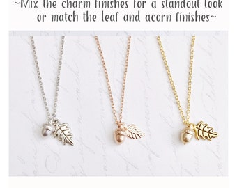 Acorn Jewelry / Acorn Necklace / Acorn Pendant / Dainty Necklace / Leaf Jewelry / Acorn/ Minimalist Necklace / Fall Wedding / Autumn Jewelry