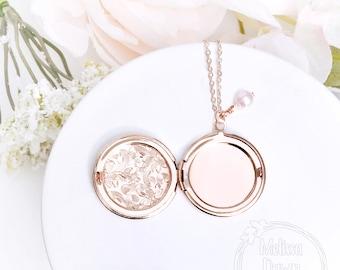Locket Necklace / Memorial Locket / Birthstone Locket / Photo Locket / Custom Locket / Flower Locket / Locket With Photo / Locket with Pearl
