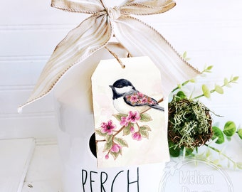 Tier Tray Tag / Wooden Tag / Tier Tray Sign / Birdhouse / Cherry Blossom Print / pair with Rae Dunn / Chickadee Art / Flower Tag / Bird Art
