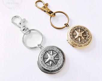 Keychain Locket / Locket Keychain / Mens Locket / Compass Keychain / Photo Locket / Grandpa Gift / Dad Gift / Custom Locket / Compass Locket