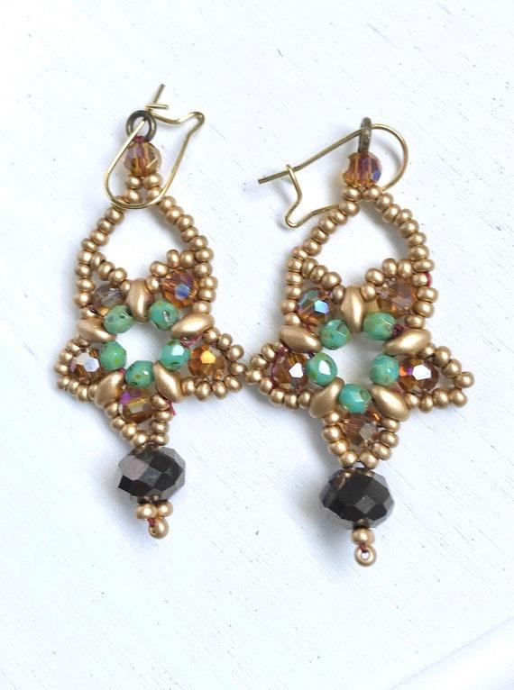 Boho Drop Bead earrings Drop Dangle Earrings Gift for her. Handmade Bead Earrings