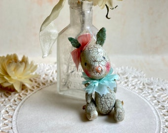 Lil Blue Bunny with Pink Ribbon, Clay Bunny