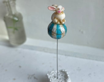 Bunny on a Blue Ball Pin