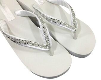ea27ff88ccdab6 Wedding Flip Flops - Bridal Wedge Flip Flops - Bridal Sandals - Platform  Flip Flops - Rhinestone Flip Flops - Beach Wedding - Custom Colors