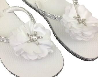 3a2a5d51a073c2 Bridal Flip Flops - Starfish Flip Flops - Bridal Sandals - Beach Wedding -  Star Fish Flip Flops - Destination Wedding - Beach Slippers