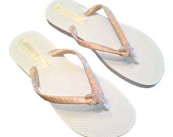 01ee908371af84 Blush Flip Flops - Rose Gold Starfish Flip Flops - Bridal Flip Flops -  Beach Wedding - Blush Wedding - Bridal Sandals - 30 colors Available