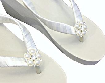 673b0f4a611a3e Wedge Bridal Flip Flops - Wedding Flip Flips - Platform Flip Flops - Beach  Wedding - Ivory Wedge Flip Flops - White Wedge Flip Flops