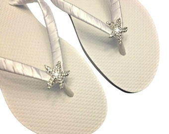 eb70bbbb048202 Beach Wedding Flip Flops - Starfish Flip Flops - Bridesmaid Flip Flops - Bridal  Sandals - Bridesmaid Gift - 30 Colors Available.  27.95 Free shipping. WEDGE  ...