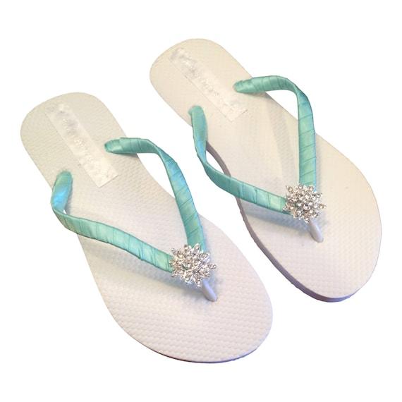 830f98b79 Bridesmaid Flip Flops Aqua Flip Flops Bridal Flip Flops
