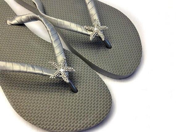 db88c9486 Bridesmaid Flip Flops Silver Flip Flops Starfish Flip