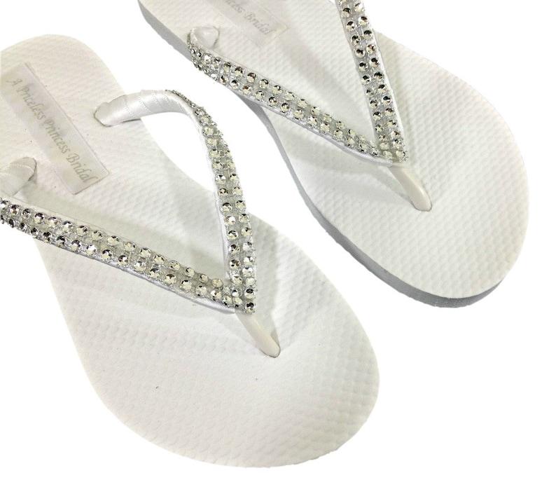 3c6b51a5b Bridal Rhinestone Flip Flops Bridesmaids Flip Flops Wedding