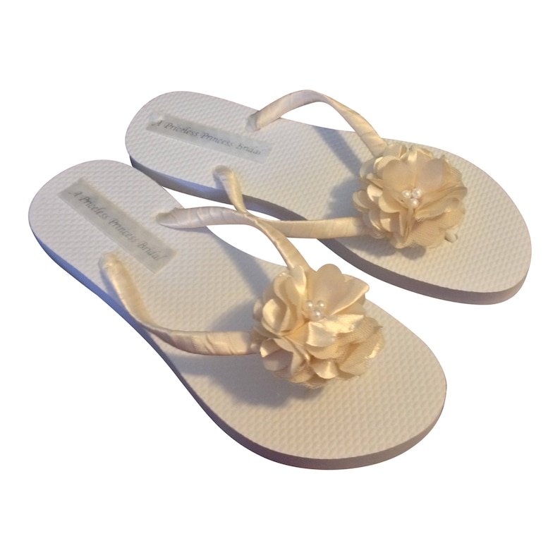 e215027ebdcfa Wedding Flip Flops Cream Flower Flip Flops Beach Bridal