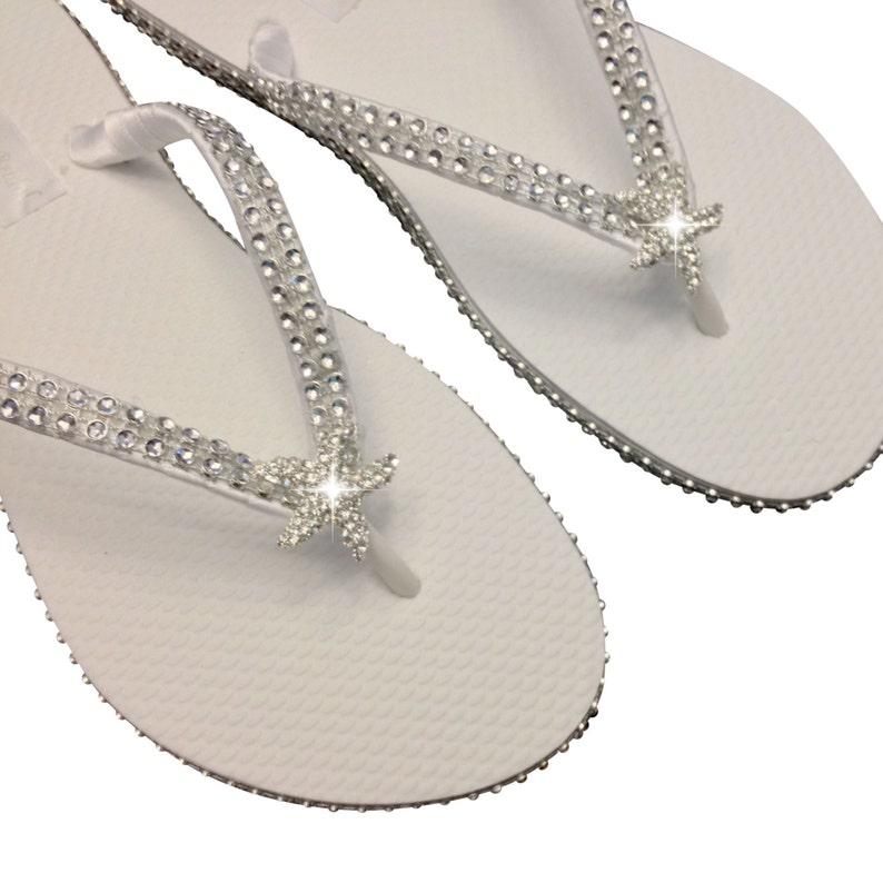 7289b727c3fae7 Bridal Flip Flops Starfish Flip Flops Beach Wedding Flip