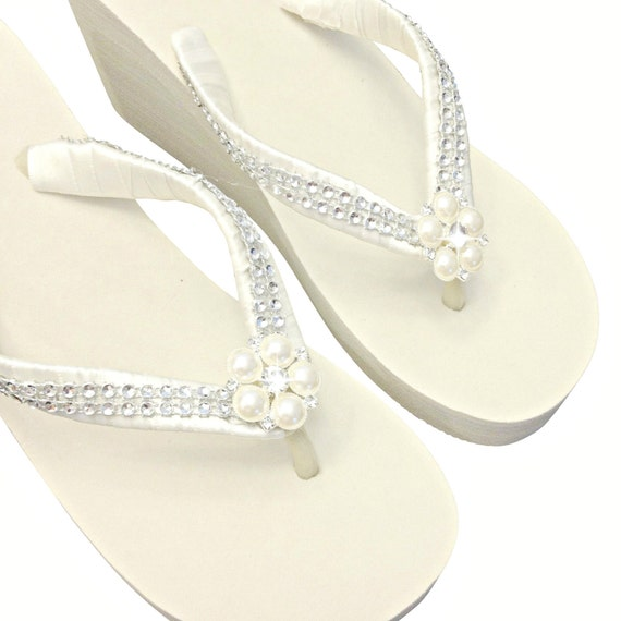 a00db8ad8 WEDGE Wedding Flip Flops Bridal Wedge Flip Flops Pearl