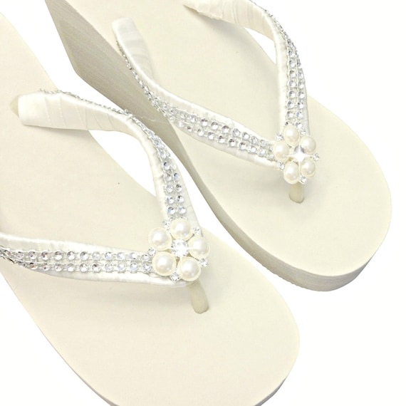 800dce644 WEDGE Wedding Flip Flops Bridal Wedge Flip Flops Pearl