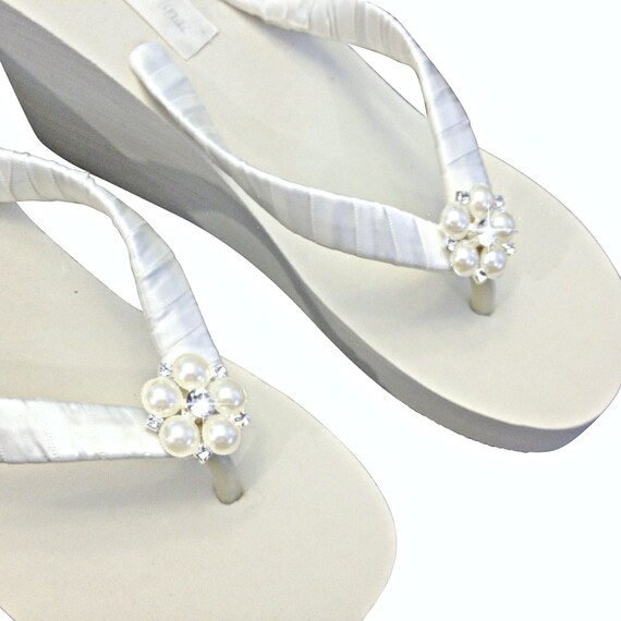 23874e9d831b Wedge Bridal Flip Flops Wedding Flip Flips Platform Flip