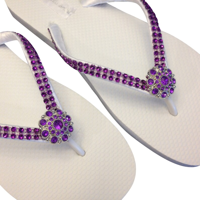 c1b74e4147bb0 Purple Flip Flops Rhinestone Flip Flops Bridesmaid Flip