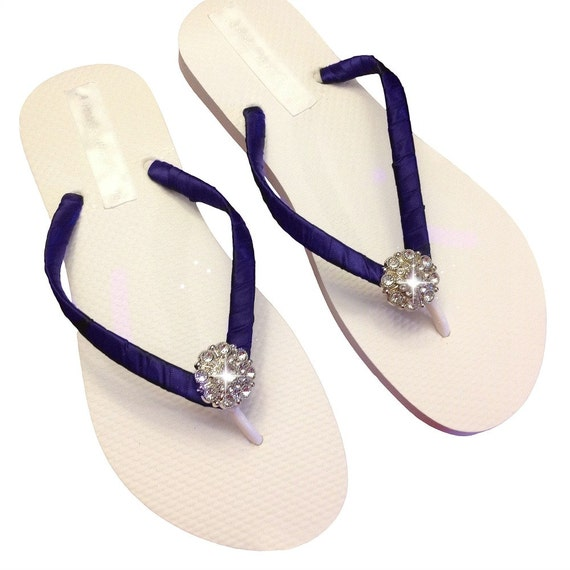 04fece5bc Navy Blue Bridesmaid Flip Flops Bridal Flip Flops