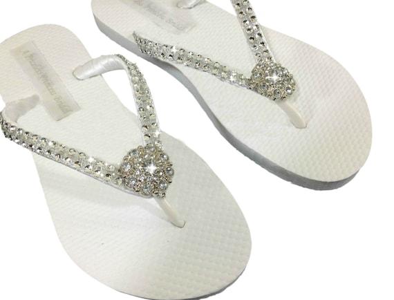 5ed6221c8 Rhinestone Bridal Flip Flops Bridal Flip Flops Bridesmaid