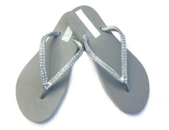 3d7092346 Bridesmaid Flip Flops Rhinestone Flip Flops Bridal Flip