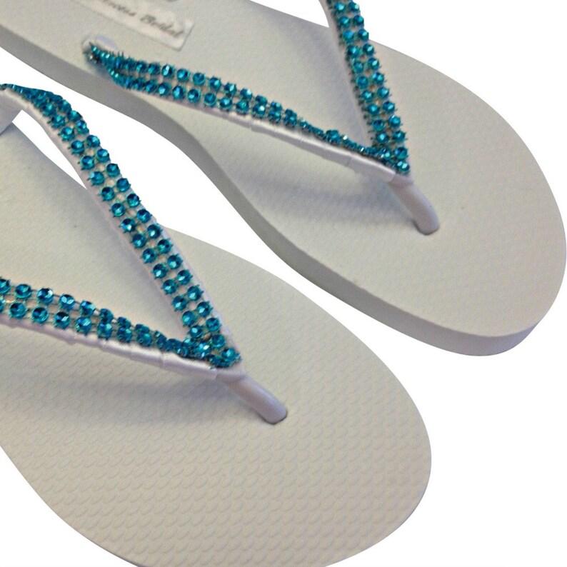 b3505fd21271 Rhinestone Flip Flops Bridal Flip Flops Turquoise Flip