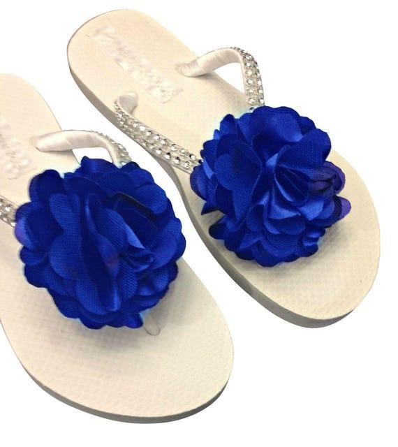 0348c5b4f6db8 Bridesmaid Flip Flops Royal Blue Flip Flops Flower Flip
