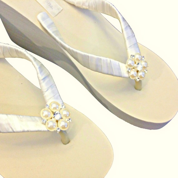 Beach Wedge Flip Platform Flip Flops Flops Wedding Flops Bridal Wedding Flip Wedge Wedge Ivory Jangles Flops Flip 4OqgwFgv