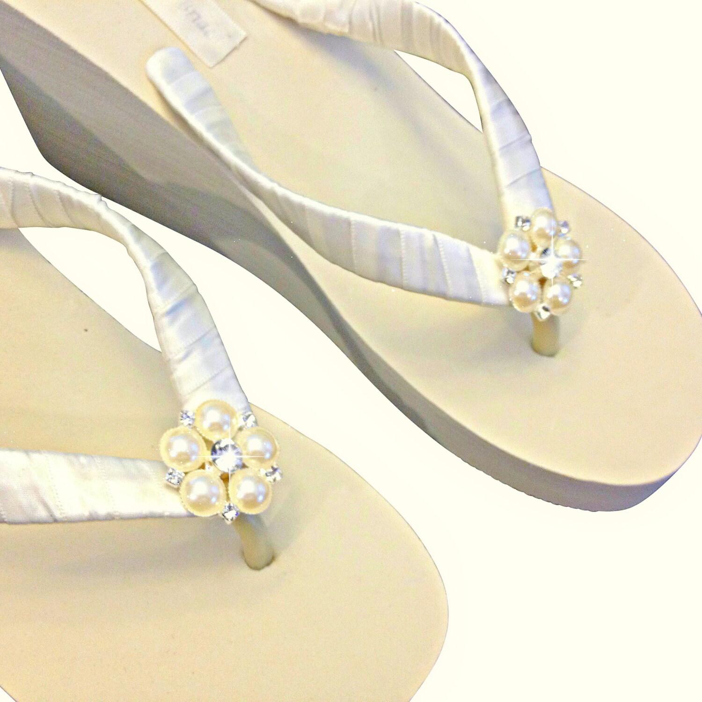 Bridal Flip Flops Wedge Wedding Wedge Flip Flops Platform -6626