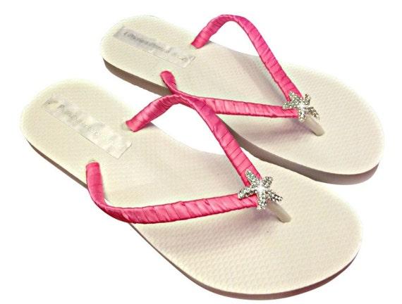 257e5c71bb70 Bridesmaid Flip Flops Starfish Flip Flops Hot Pink Flip