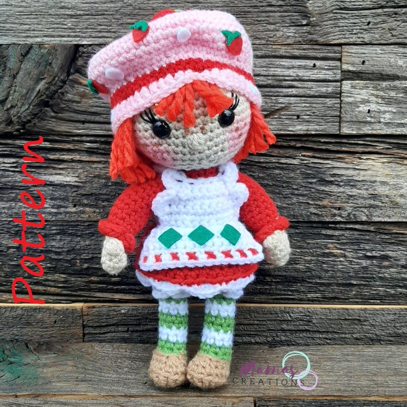 Strawberry Shortcake Amigurumi Crochet Pattern Retro 80s image 0
