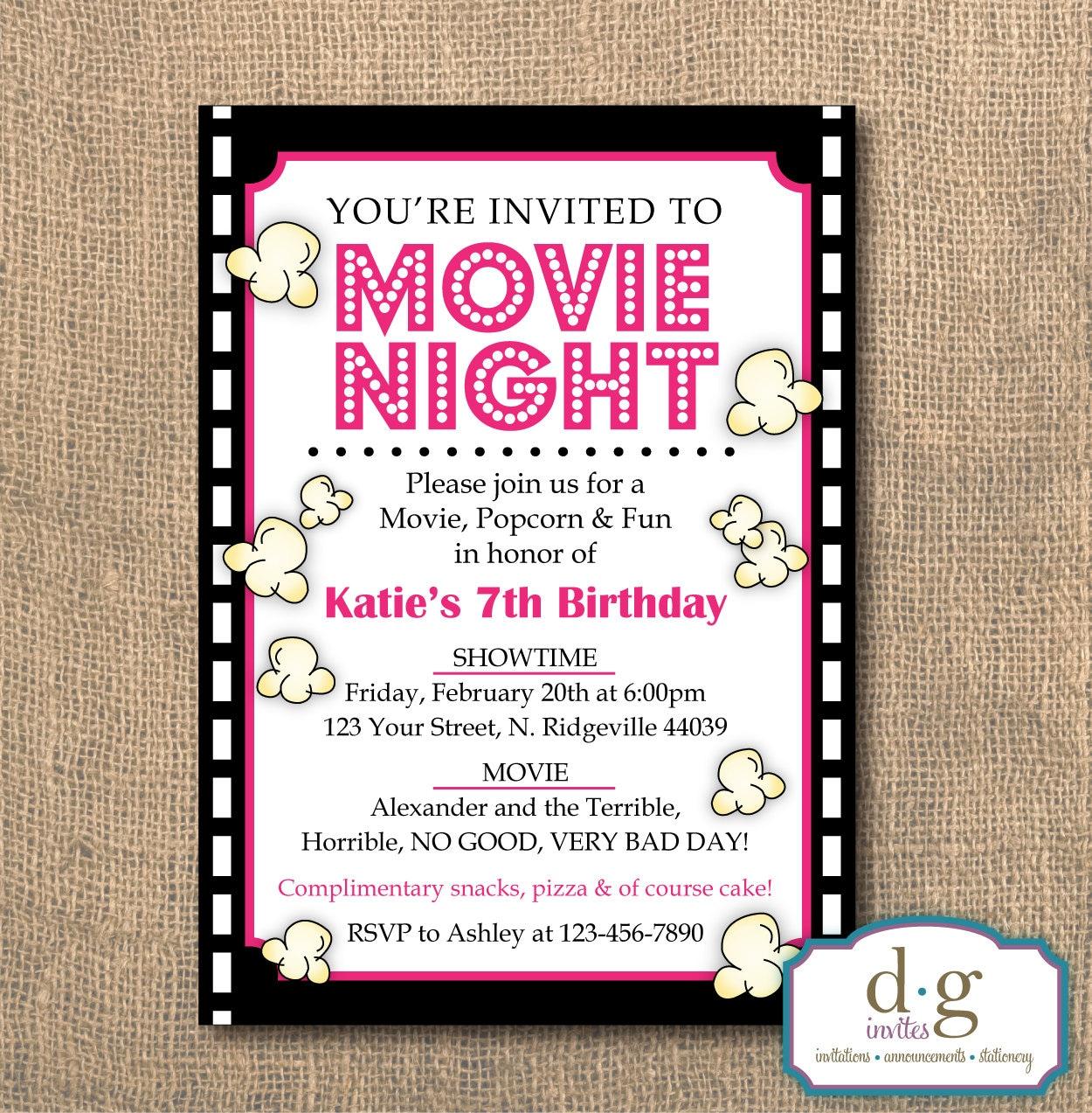 Birthday Invitation Movie Night Popcorn Movie Theme Movie | Etsy
