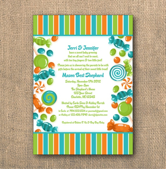 PRINTABLE 5x7 Candy Themed Baby Shower Invitation
