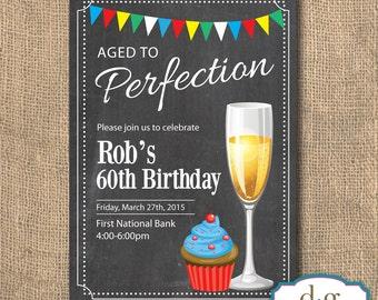 Birthday Invitation, Champagne, Cupcakes Birthday Invitation, Adult Birthday,5x7, PRINTABLE